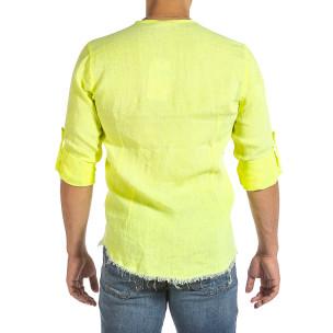 Cămașă cu mânecă lungă bărbați Duca Fashion galbenă 2