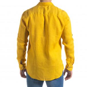 Cămașă cu mânecă lungă bărbați RNT23 galbenă 2