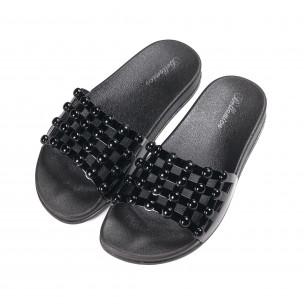 Papuci de dama negri din imitație de piele lăcuită 2