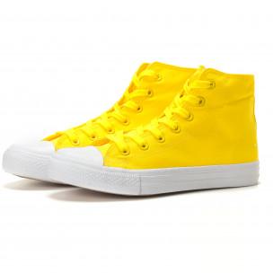 Teniși înalți galbeni cu talpă albă pentru bărbați