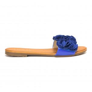 Papuci de dama albaștri cu efect de floare