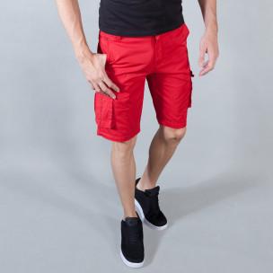 Pantaloni scurți de bărbați roșii cu buzunare cargo