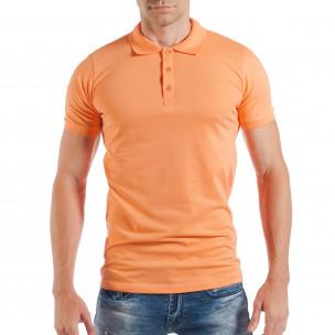 Tricou portocaliu Pique cu guler pentru bărbați