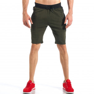 Pantaloni scurți de bărbați verzi cu fermoar la crac