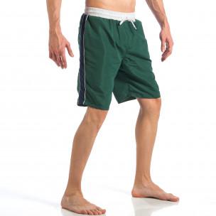 Costum de baie de bărbați verde cu banda albastră laterală  2
