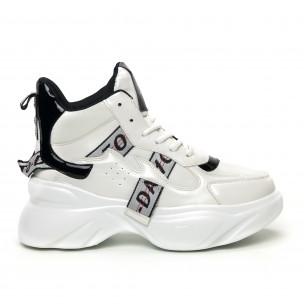 Pantofi sport înalți de dama cu detalii lăcuite