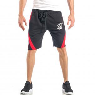 Pantaloni scurți pentru bărbați negri cu banda roșie
