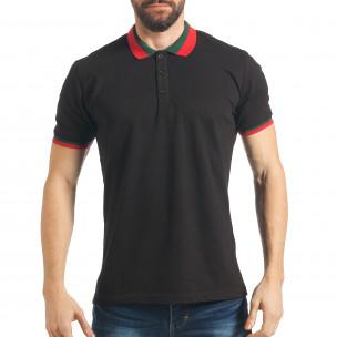 Tricou cu guler bărbați Black Island negru