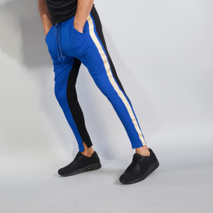Jogger pentru bărbați în albastru și negru cu benzi și fermoare