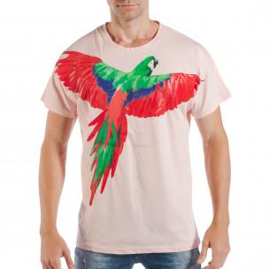 Tricou roz pentru bărbați cu imprimeu papagal