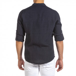 Cămașă cu mânecă lungă bărbați Duca Fashion albastră 2