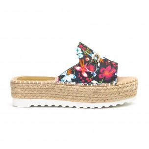 Papuci de dama în flori cu catarama de aur