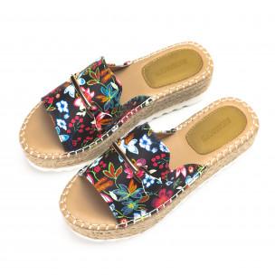 Papuci de dama în flori cu catarama de aur 2