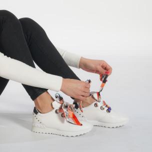 Pantofi sport albi de dama din piele ecologica cu șireturi din satin  2