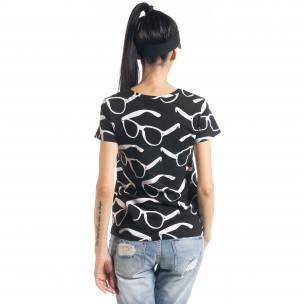 Tricou de dama Glasses în negru 2