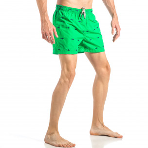 Costum de baie pentru bărbați verde cu rechini 2