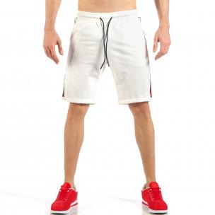 Pantaloni scurți de bărbați albi cu banda neagra-roșu
