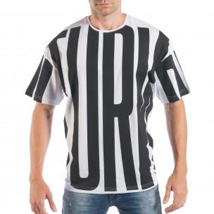 Tricou pentru bărbați în negru și alb