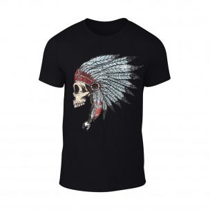 Tricou pentru barbati Indian negru TEEMAN