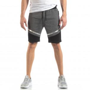 Pantaloni sport scurți gri cu accent argintiu pentru bărbați 2