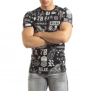 Tricou negru pentru bărbați cu simboluri