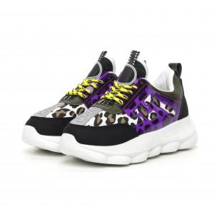 Pantofi sport de dama negri cu accente Mix 2