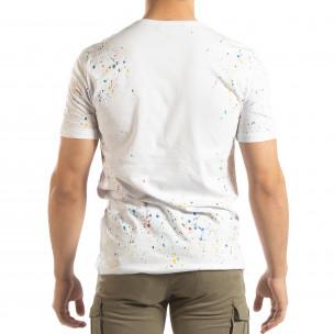Tricou alb pentru bărbați cu spray de vopsea 2