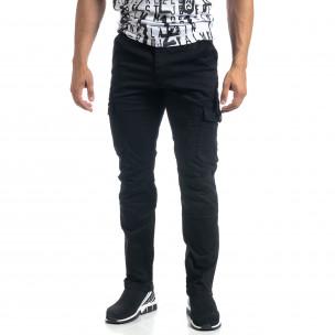 Pantaloni cargo negri drepți pentru bărbați 2
