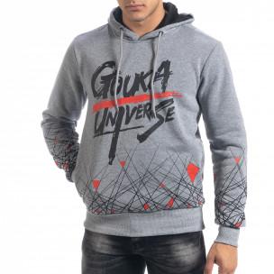 Hanorac hoodie de bărbați gri cu imprimeu