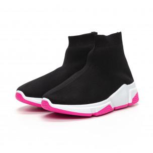 Pantofi sport de dama negri tip șosetă cu talpă Chunky 2
