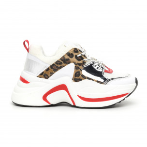 Pantofi sport voluminoși de dama alb și leopard
