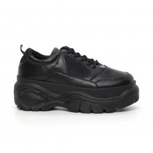 Pantofi sport de dama negri cu platformă