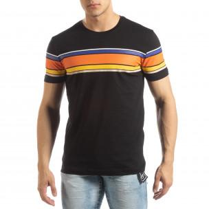 Tricou pentru bărbați negru cu dungi colorate
