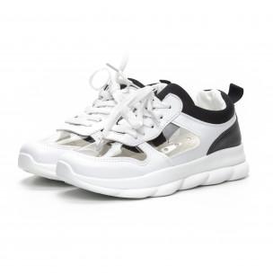 Pantofi sport de dama în negru și alb cu părți transparente 2