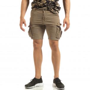 Pantaloni cargo scurți de bărbați Slim fit bej
