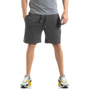 Pantaloni sport scurți de bărbați gri cu efect decolorat