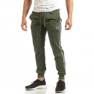 Pantaloni de trening verzi pentru bărbați cu benzi logo