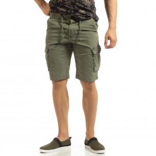 Bermude cargo pentru bărbați verzi cu elastic în talie 2
