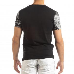 Tricou negru de bărbați cu imprimeu figural 2