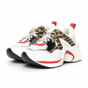 Pantofi sport voluminoși de dama alb și leopard 2
