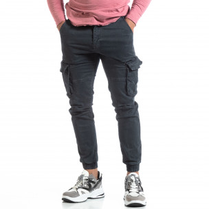 Pantaloni cargo gri de bărbați cu manșete elastice 2
