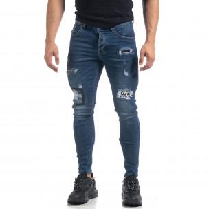 Blugi elastici de bărbați albaștri cu patch-uri