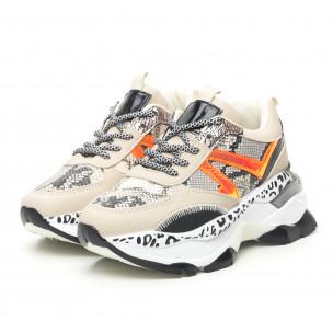 Pantofi sport de dama Chunky Snake în bej 2