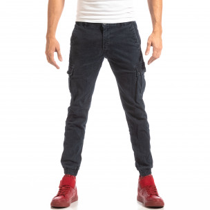 Pantaloni cargo pentru bărbați albaștri cu elastic la glezna