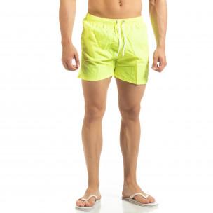 Șort de baie galben neon Basic pentru bărbați