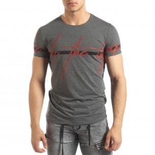 Tricou de bărbați melanj gri cu imprimeu
