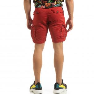 Pantaloni cargo scurți de bărbați în roșu cu detaliu  2