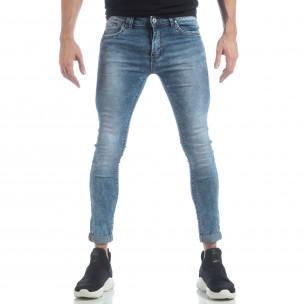 Skinny Washed Jeans albaștri pentru bărbați   2