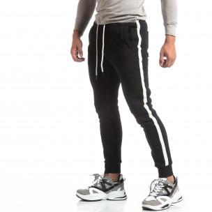 Pantaloni sport de bărbați flaușați negri cu banda albă