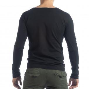 Bluză pentru bărbați neagră Vintage stil 2